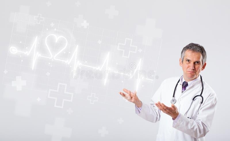 Κτύπος της καρδιάς γιατρών examinates με την αφηρημένη καρδιά στοκ εικόνα