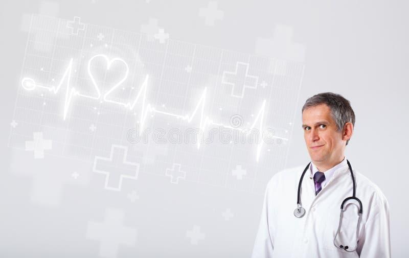 Κτύπος της καρδιάς γιατρών examinates με την αφηρημένη καρδιά στοκ εικόνες με δικαίωμα ελεύθερης χρήσης