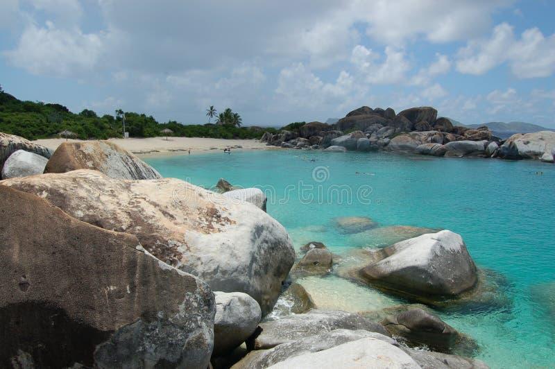 κυανά ύδατα λίθων παραλιών στοκ φωτογραφία με δικαίωμα ελεύθερης χρήσης