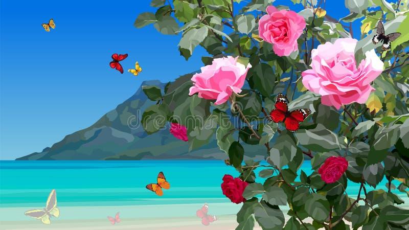 Κυανή ακτή με τους ροδαλούς Μπους και τις πετώντας πεταλούδες διανυσματική απεικόνιση