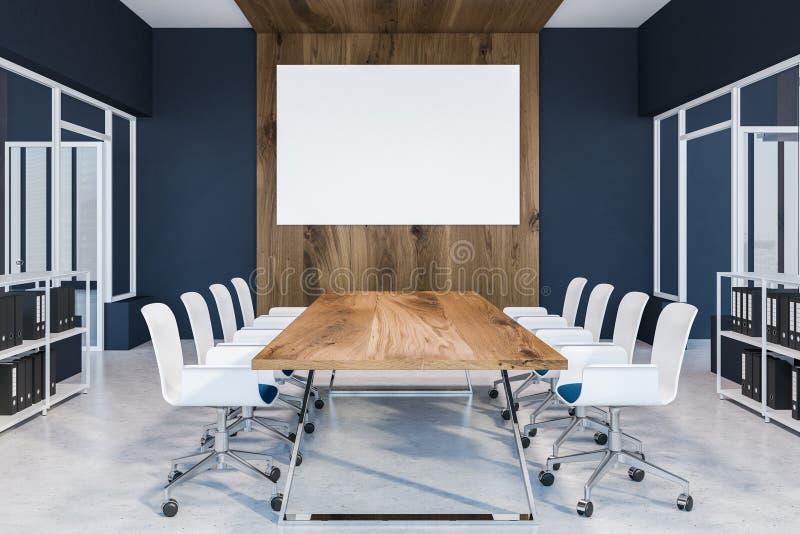 Κυανή εσωτερική, ξύλινη επιτραπέζια αφίσα αίθουσας συνδιαλέξεων απεικόνιση αποθεμάτων