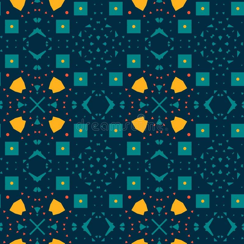 Κυανικό κίτρινο μαροκινό κεραμίδι διανυσματική απεικόνιση