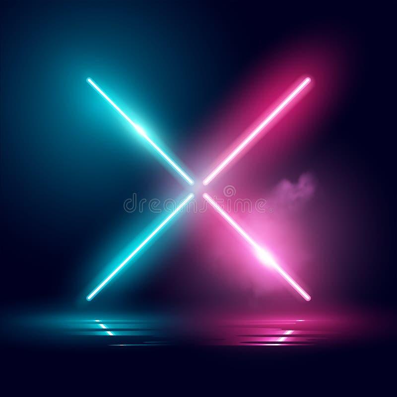 Κυανό και ρόδινο διάνυσμα επίδρασης φωτισμού νέου ελεύθερη απεικόνιση δικαιώματος