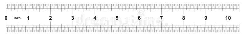 Κυβερνήτης 10 ίντσες αυτοκρατορικός Η τιμή τμήματος είναι 1/32 ίντσα Διπλάσιο κυβερνητών που πλαισιώνεται Ακριβές μετρώντας εργαλ διανυσματική απεικόνιση