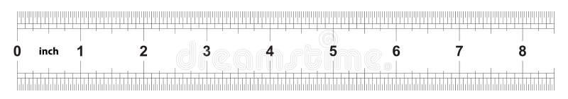 Κυβερνήτης 8 ίντσες αυτοκρατορικός Η τιμή τμήματος είναι 1/32 ίντσα Διπλάσιο κυβερνητών που πλαισιώνεται Ακριβές μετρώντας εργαλε διανυσματική απεικόνιση