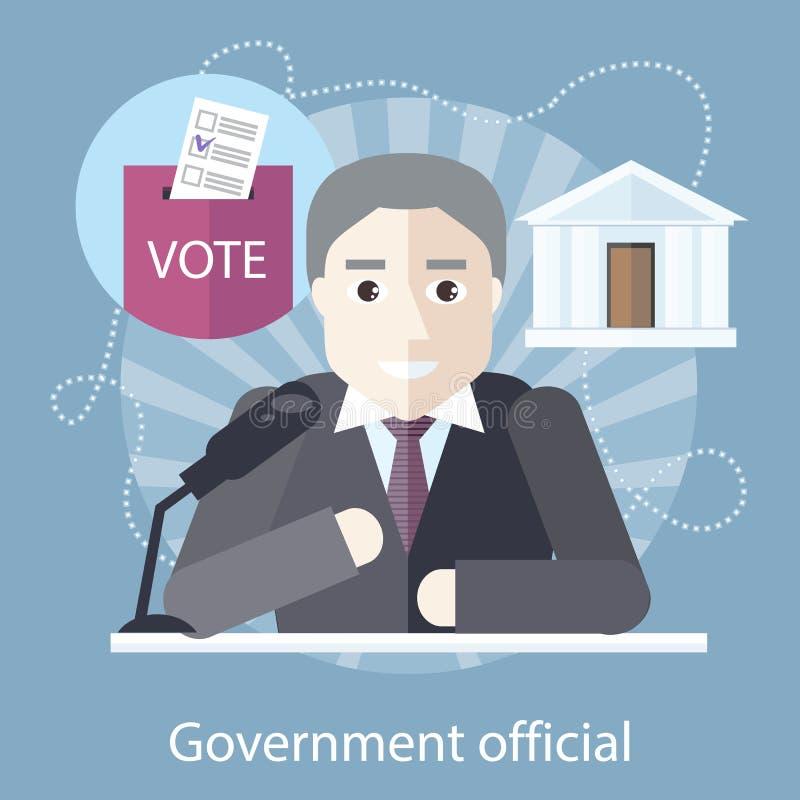 Κυβερνητικός ανώτερος υπάλληλος μπροστά από το μικρόφωνο διανυσματική απεικόνιση