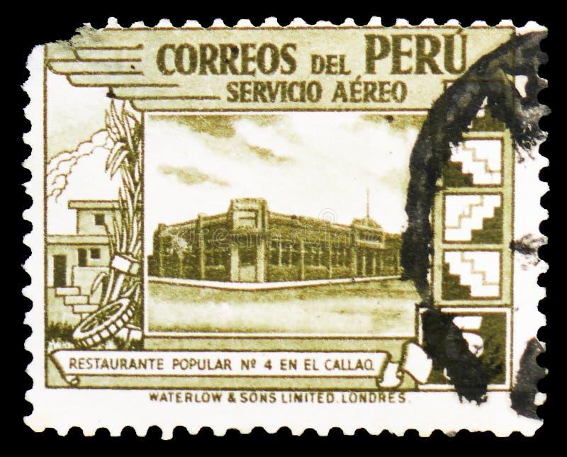 Κυβερνητικό εστιατόριο σε Callao, γραμματόσημα ταχυδρομείου αέρα του 1938: Κίνητρα χώρας serie, circa 1938 στοκ φωτογραφία με δικαίωμα ελεύθερης χρήσης