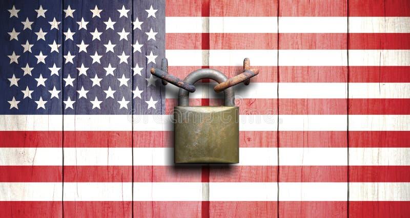 Κυβερνητικό κλείσιμο Αμερικανική σημαία στην ξύλινη πόρτα που κλείνουν με το λουκέτο τρισδιάστατη απεικόνιση στοκ εικόνα με δικαίωμα ελεύθερης χρήσης