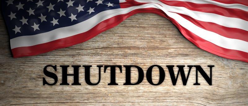 Κυβερνητικό κλείσιμο Κείμενο κλεισίματος και αμερικανική σημαία στο ξύλινο υπόβαθρο τρισδιάστατη απεικόνιση στοκ εικόνες