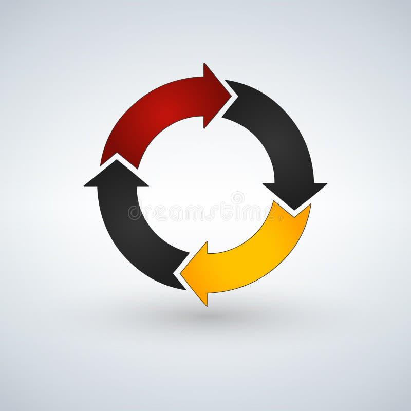 Κυκλικά βέλη για το infographics Διάγραμμα, γραφική παράσταση, διάγραμμα με 4 βήματα, επιλογές, μέρη Διανυσματικό επιχειρησιακό π διανυσματική απεικόνιση