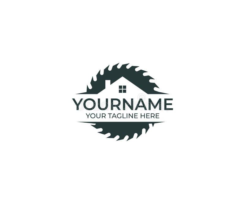 Κυκλικός δίσκος πριονιών για το τέμνον πρότυπο λογότυπων ξύλου και σπιτιών Joinery διανυσματικό σχέδιο ελεύθερη απεικόνιση δικαιώματος