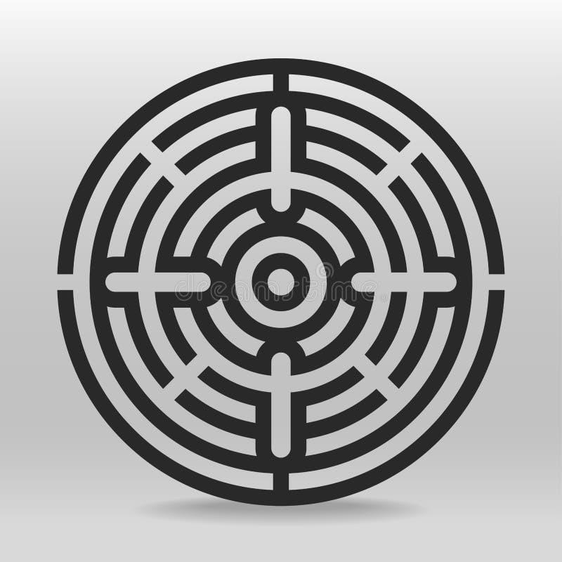 Κυκλικός λαβύρινθος διάνυσμα παζλ ελεύθερη απεικόνιση δικαιώματος