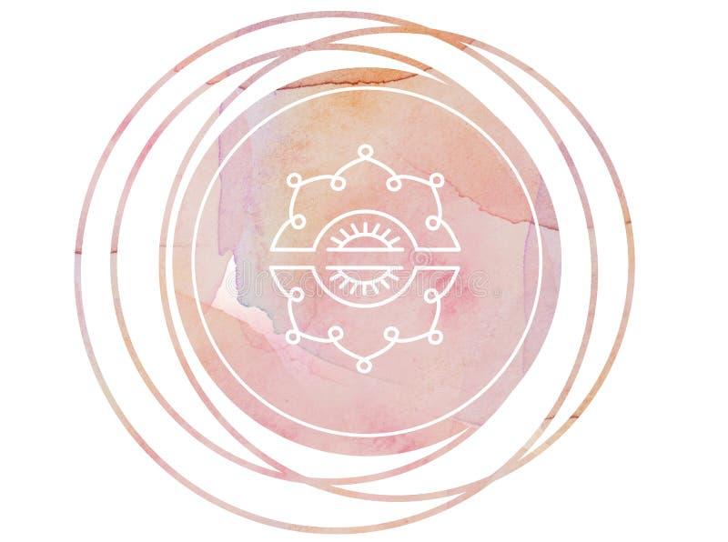 Κυκλικός λωτός συμβόλων περισυλλογής mandala Watercolor απεικόνιση αποθεμάτων