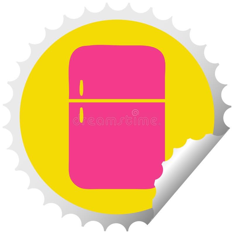 κυκλικός ψυκτήρας ψυγείων κινούμενων σχεδίων αυτοκόλλητων ετικεττών αποφλοίωσης απεικόνιση αποθεμάτων