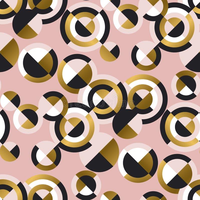 Κυκλικό γεωμετρικό αναδρομικό άνευ ραφής σχέδιο μορφών ελεύθερη απεικόνιση δικαιώματος