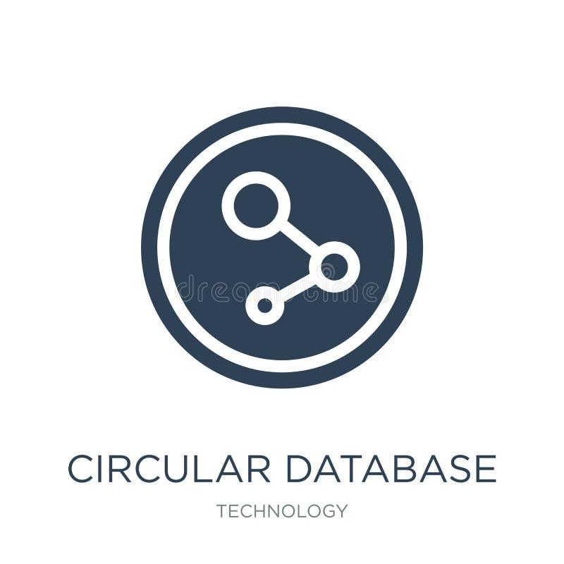 κυκλικό εικονίδιο βάσεων δεδομένων στο καθιερώνον τη μόδα ύφος σχεδίου κυκλικό εικονίδιο βάσεων δεδομένων που απομονώνεται στο άσ διανυσματική απεικόνιση