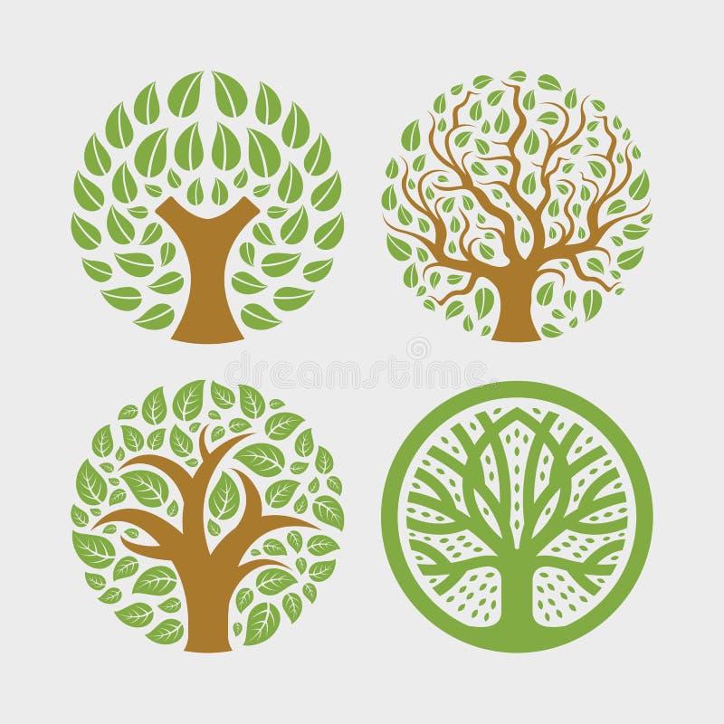 Κυκλικό οργανικό λογότυπο φύλλων φυτών δέντρων κύκλων διανυσματική απεικόνιση
