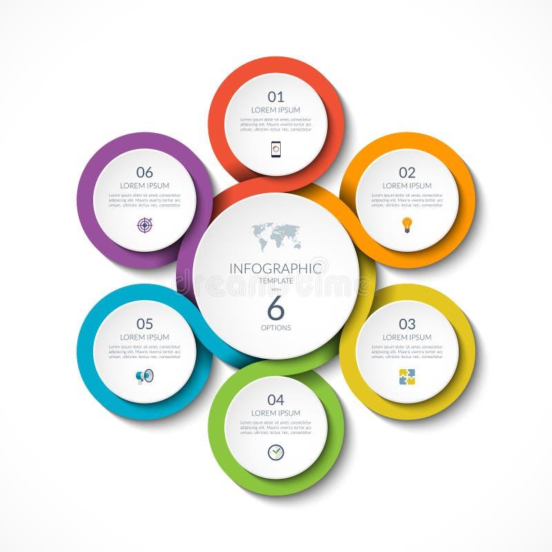 Κυκλικό πρότυπο Infographic με 6 επιλογές επίσης corel σύρετε το διάνυσμα απεικόνισης απεικόνιση αποθεμάτων