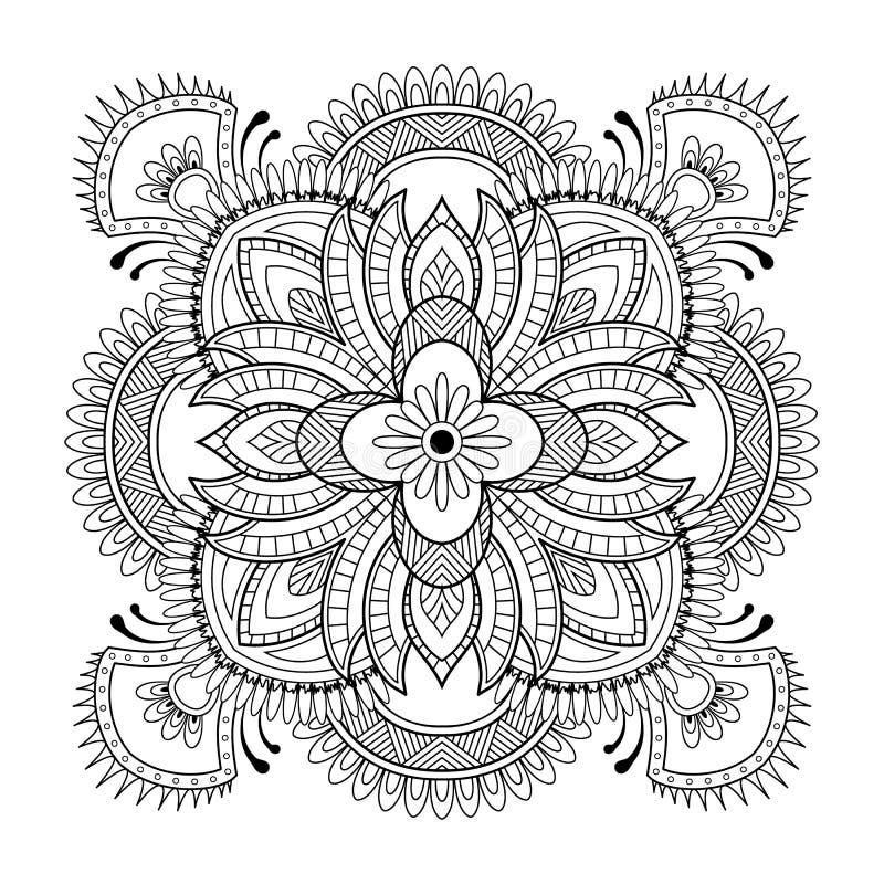 Κυκλικό σχέδιο με μορφή mandala για Henna, Mehndi, δερματοστιξία, διακόσμηση Διακοσμητική διακόσμηση στο εθνικό ασιατικό ύφος απεικόνιση αποθεμάτων