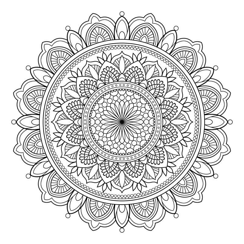 Κυκλικό σχέδιο με μορφή mandala για Henna, Mehndi, δερματοστιξία, διακόσμηση Διακοσμητική διακόσμηση στο εθνικό ασιατικό ύφος διανυσματική απεικόνιση