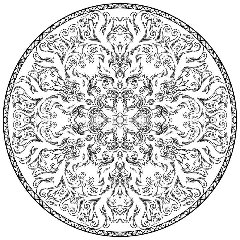 Κυκλικό σχέδιο με μορφή mandala για Henna, Mehndi, δερματοστιξία, διακόσμηση απεικόνιση αποθεμάτων