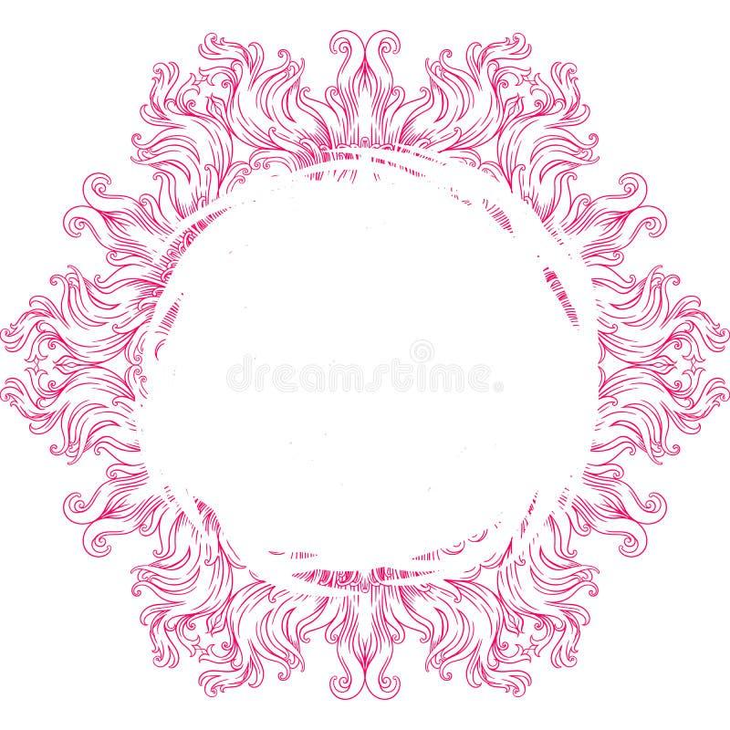 Κυκλικό σχέδιο με μορφή mandala για Henna, Mehndi, δερματοστιξία, διακόσμηση πλαίσιο, κύκλος, ροζ ελεύθερη απεικόνιση δικαιώματος