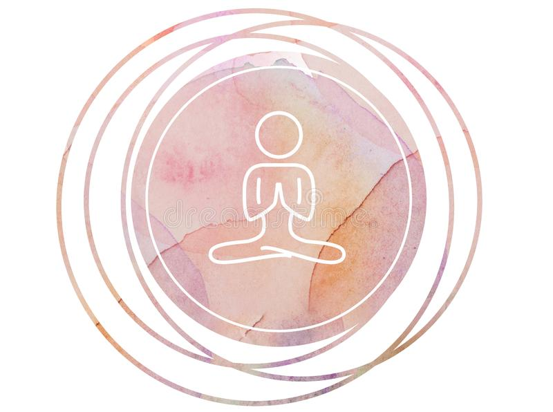 Κυκλικό σύμβολο περισυλλογής mandala Watercolor στοκ εικόνες με δικαίωμα ελεύθερης χρήσης