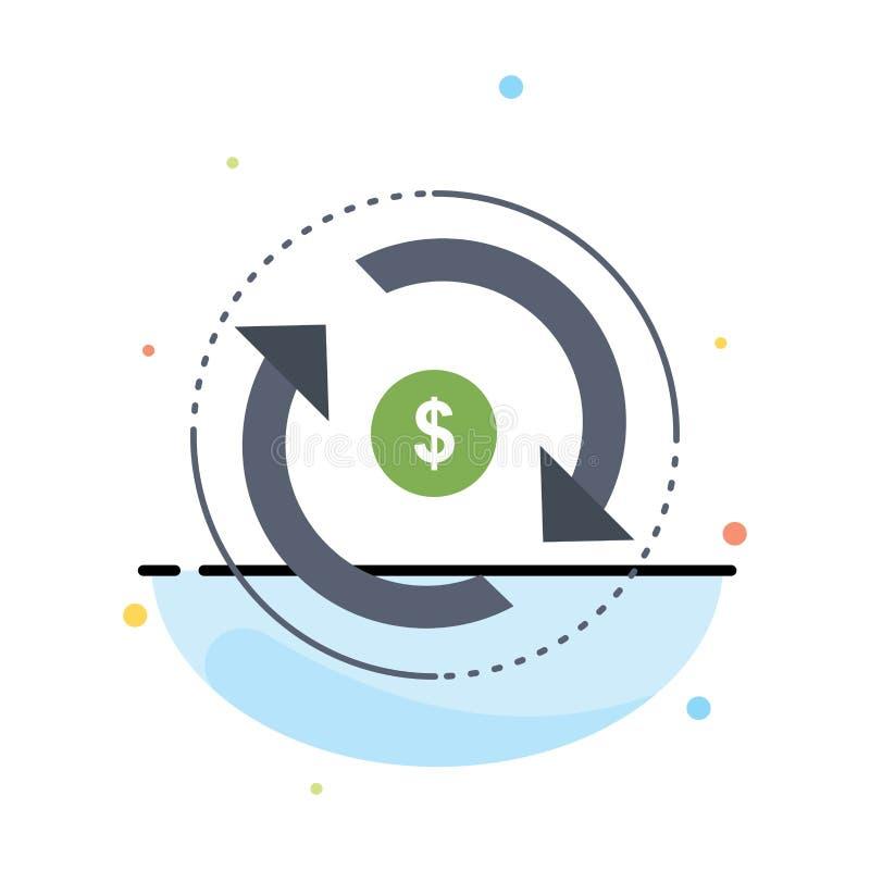 Κυκλοφορία, χρηματοδότηση, ροή, αγορά, επίπεδο διάνυσμα εικονιδίων χρώματος χρημάτων διανυσματική απεικόνιση