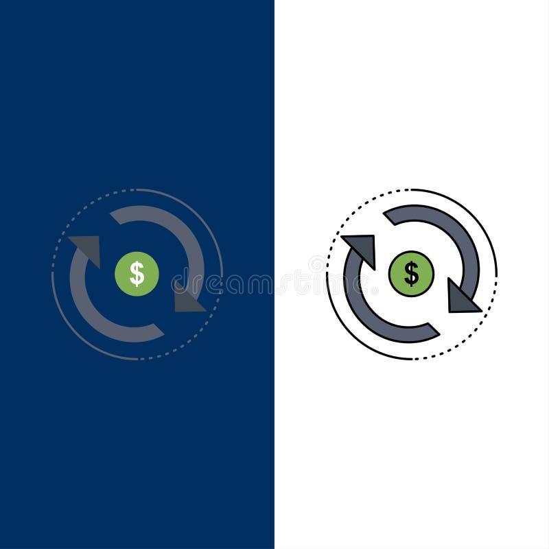 Κυκλοφορία, χρηματοδότηση, ροή, αγορά, επίπεδο διάνυσμα εικονιδίων χρώματος χρημάτων ελεύθερη απεικόνιση δικαιώματος