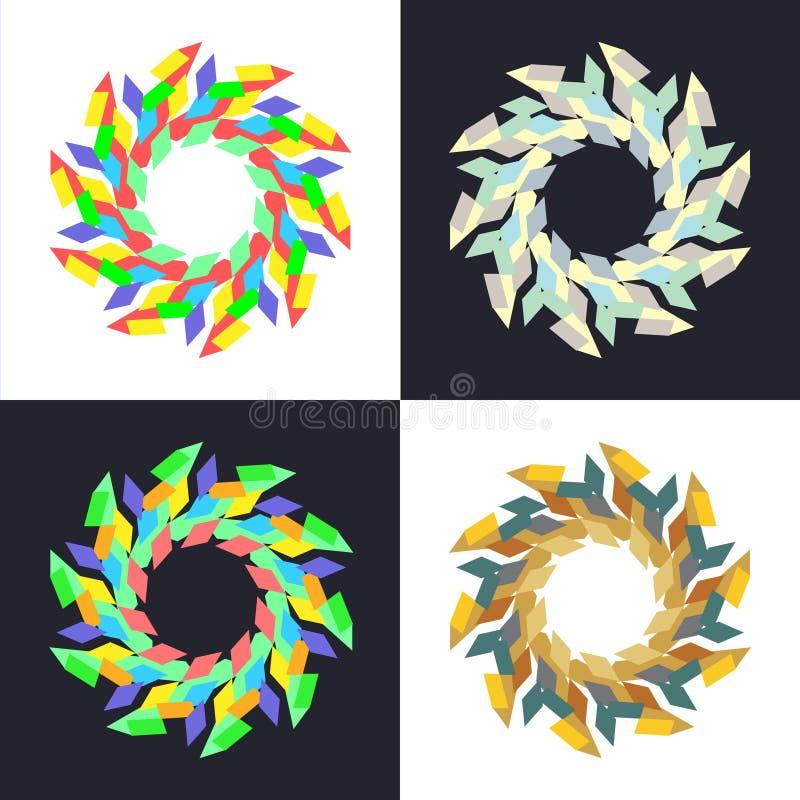 Κυκλικά γεωμετρικά σχέδια μωσαϊκών απεικόνιση αποθεμάτων