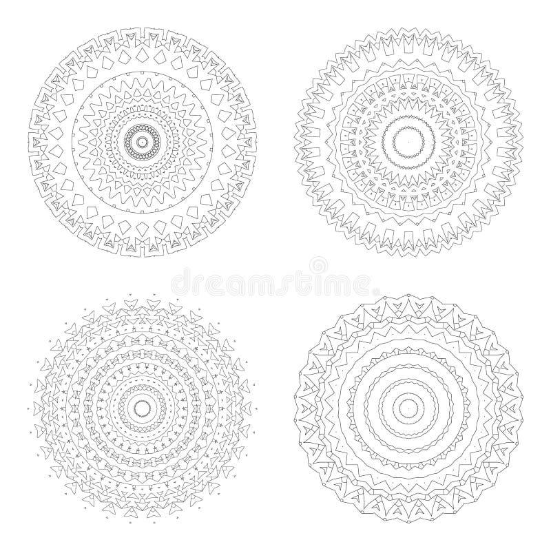 Κυκλικά πρότυπα σχεδίου Στρογγυλά διακοσμητικά σχέδια Σύνολο δημιουργικού Mandala που απομονώνεται στο λευκό διανυσματική απεικόνιση