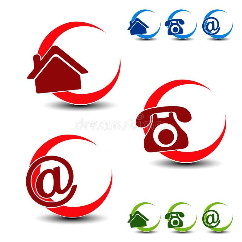 Κυκλικά σύμβολα ναυσιπλοΐας - σπίτι, τηλέφωνο, ηλεκτρονικό ταχυδρομείο απεικόνιση αποθεμάτων