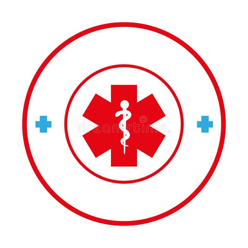 Κυκλικά σύνορα με το σταυρό συμβόλων υγείας απεικόνιση αποθεμάτων