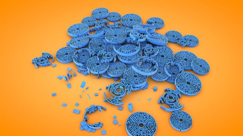 Κυκλικές μορφές λαβύρινθων, τρισδιάστατη απόδοση διανυσματική απεικόνιση