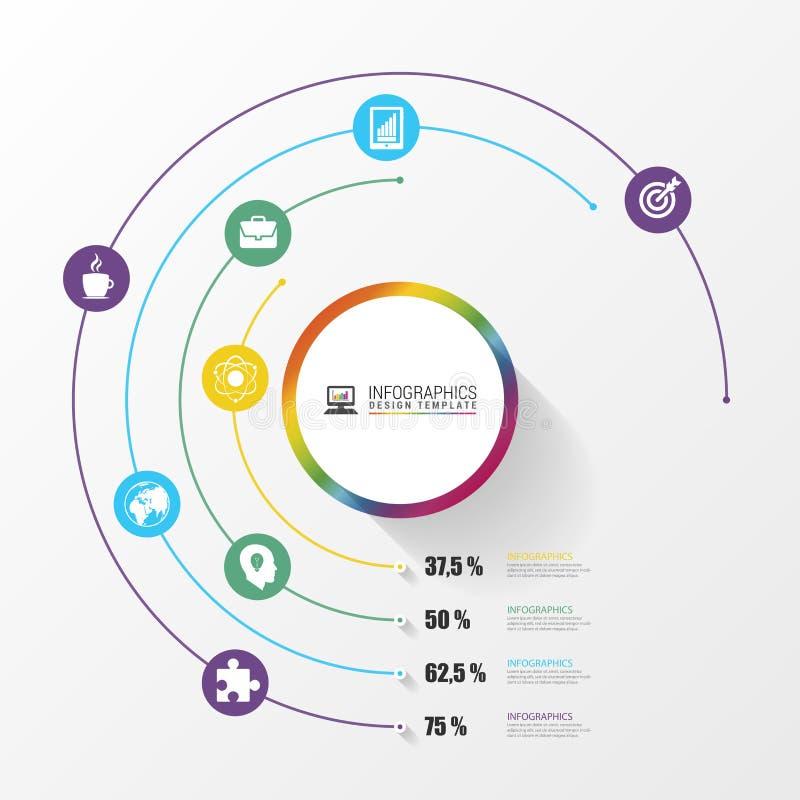 Κυκλική μοντέρνη πολύχρωμη στρογγυλή γραμμή 4 τοις εκατό βήμα Infographics διάνυσμα απεικόνιση αποθεμάτων