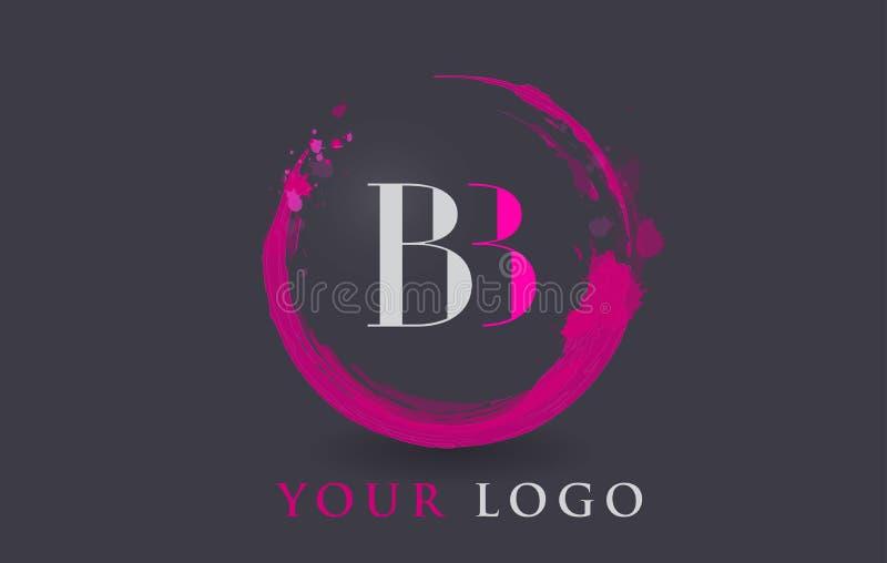 Κυκλική πορφυρή έννοια βουρτσών παφλασμών λογότυπων επιστολών του BB διανυσματική απεικόνιση