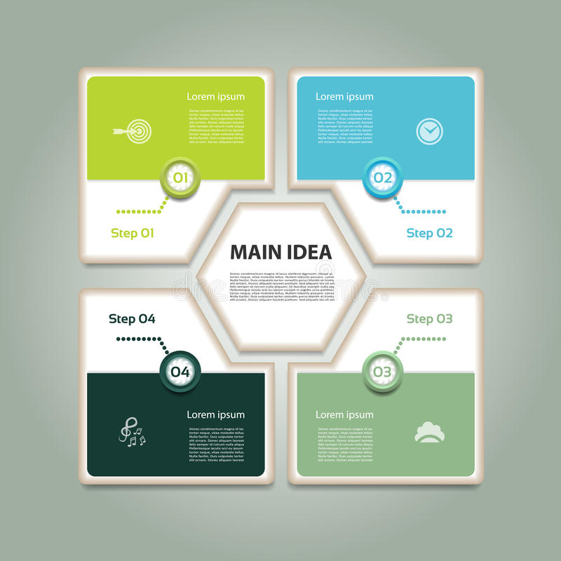Κυκλικό διάγραμμα με τέσσερα βήματα και εικονίδια Διανυσματικό υπόβαθρο Infographic απεικόνιση αποθεμάτων