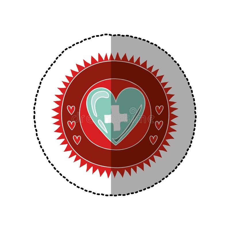Κυκλικό πλαίσιο χρώματος με τη μέση αυτοκόλλητη ετικέττα σκιών της καρδιάς με το σταυρό σημαδιών ελεύθερη απεικόνιση δικαιώματος