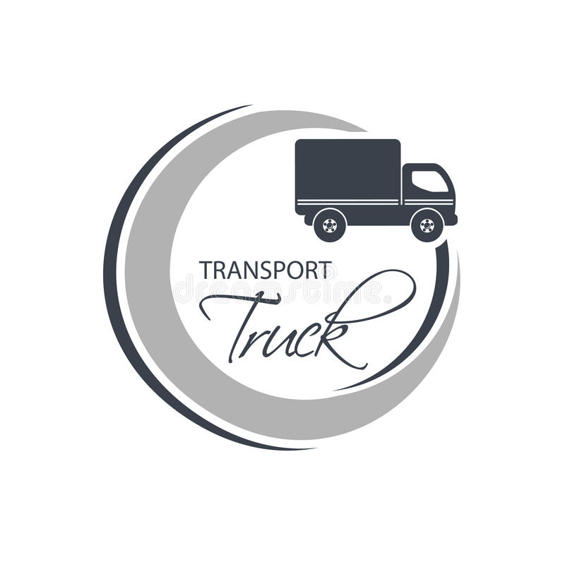 Κυκλικό σύμβολο της μεταφοράς με τη σκιαγραφία του φορτηγού, φορτηγό Μονοχρωματικό σχέδιο απεικόνιση αποθεμάτων