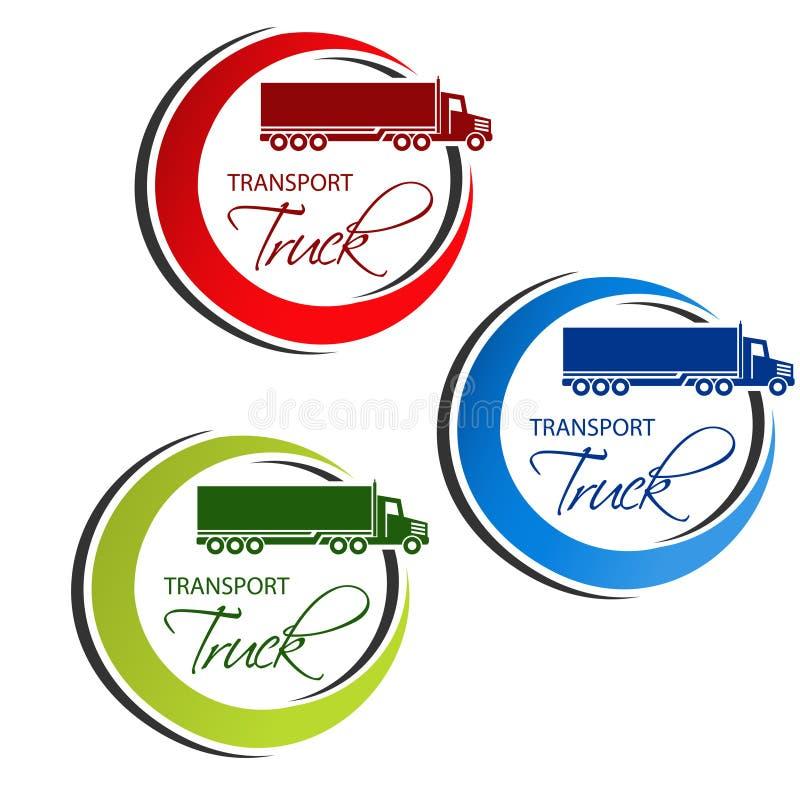Κυκλικό σύμβολο της μεταφοράς με τη σκιαγραφία του φορτηγού, φορτηγό Κόκκινο, μπλε και πράσινο σχέδιο διανυσματική απεικόνιση