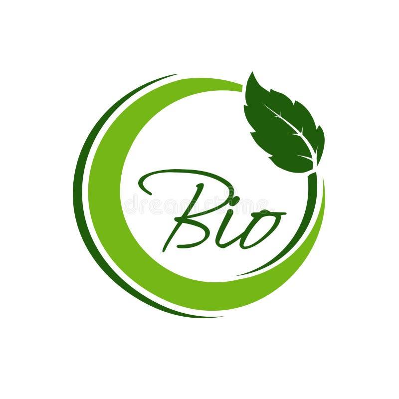Κυκλικό σύμβολο φύσης με το φύλλο, φυσικό απλό στοιχείο, πράσινη βιο ετικέτα ελεύθερη απεικόνιση δικαιώματος