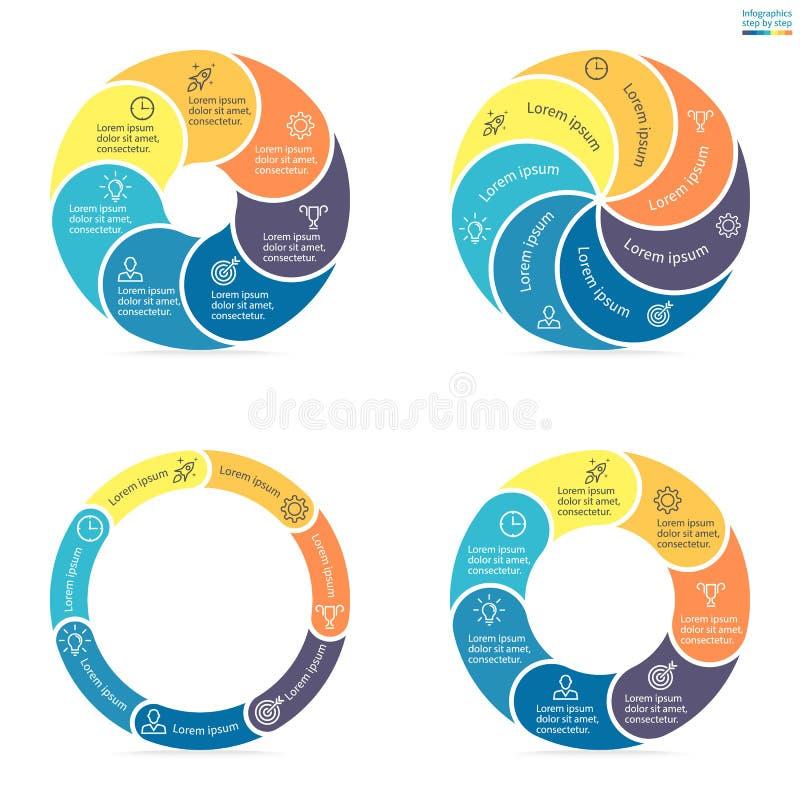 Κυκλικό infographics με τα στρογγυλευμένα χρωματισμένα τμήματα διανυσματική απεικόνιση