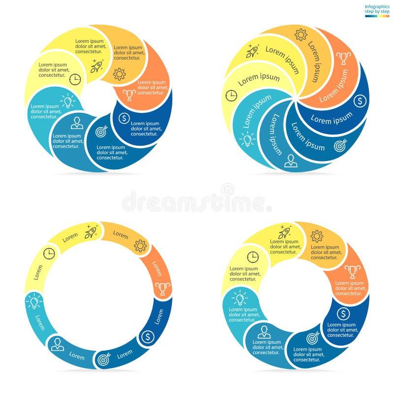 Κυκλικό infographics με τα στρογγυλευμένα χρωματισμένα τμήματα ελεύθερη απεικόνιση δικαιώματος