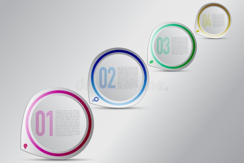 Κυκλικό infographics τεσσάρων βημάτων με το μειωμένος μέγεθος Σύγχρονα 4 διανυσματική απεικόνιση