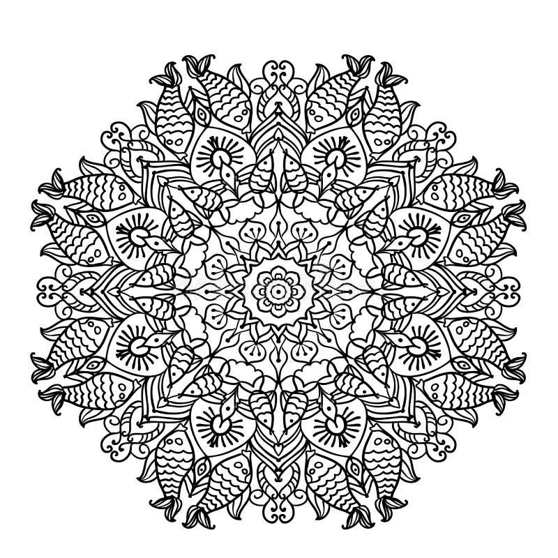 Κυκλικό mandala σχεδίων με τα στοιχεία της εθνικής ζωικής απεικόνισης σελίδων ύφους χρωματίζοντας διανυσματική απεικόνιση