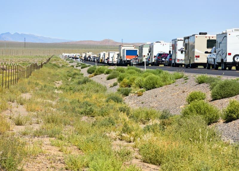 Κυκλοφοριακή συμφόρηση στην έρημο στοκ φωτογραφία με δικαίωμα ελεύθερης χρήσης