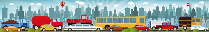 Κυκλοφοριακή συμφόρηση στην πόλη ελεύθερη απεικόνιση δικαιώματος
