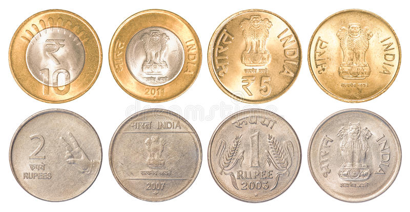 Κυκλοφορώντας νομίσματα της Ινδίας στοκ φωτογραφίες με δικαίωμα ελεύθερης χρήσης