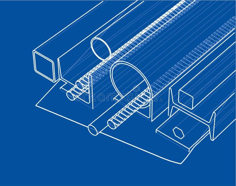 Κυλημένα προϊόντα μετάλλων διάνυσμα απεικόνιση αποθεμάτων