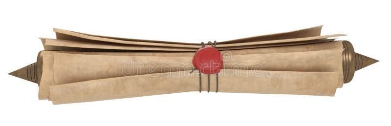 Κυλημένος παλαιός κύλινδρος εγγράφου που απομονώνεται σε ένα άσπρο υπόβαθρο τρισδιάστατη απεικόνιση απεικόνιση αποθεμάτων